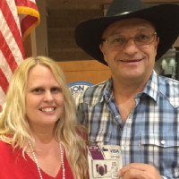 Poker Tournament Grand prize winner Tina Tresler with Rotarian Ken Dever